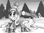 boots coat earmuffs fluttershy grayscale hat pinkie_pie rainbow_dash scarf snow snowball snowball_fight sweater this_will_end_well tsitra360 winter