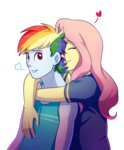 equestria_girls feellikeaplat flutterdash fluttershy highres hugs humanized rainbow_dash shipping