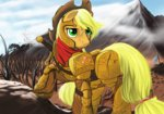 Post 67485, tags: applejack, armor, boomythemc, helmet, sword, weapon, rating:Safe, score:3, user:Geomancing