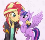 clothes equestria_girls jacket princess_twilight sunset_shimmer ta-na twilight_sparkle