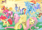 apple_bloom big_macintosh bird bunny cheerilee cloudchaser fluttershy lyra_heartstrings minuette nest pinkie_pie rainbow_dash sugarsongart vest winter_wrap_up