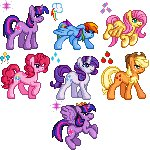 animated applejack fluttershy icon lowres main_six pinkie_pie pixel_art princess_twilight rainbow_dash rarity renaturnip twilight_sparkle