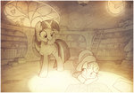bird book highres library owlowiscious sherwoodwhisper spike sweetie_belle traditional_art twilight_sparkle