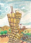 applejack appleloosa barrel digiral flag hat hay hay_bale haystack highres rodeo ruler tree