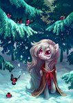 absurdres bird cloak highres holivi original_character snow tree winter