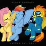 album_cover black_sabbath cigarette fluttershy heaven_and_hell parody rainbow_dash spitfire txlegionnaire