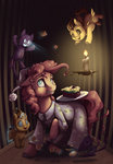 badday28 cake candle clothes highres magic nightcap nightmare pinkie_pie plushie pound_cake pumpkin_cake toy