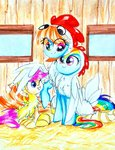 chicken costume highres liaaqila rainbow_dash scootaloo windy_whistles