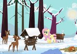 absurdres angel deer fluttershy fox highres isegrim87 snow winter