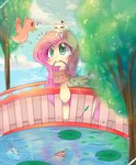 angel basket bird bridge fish fluttershy highres stream tree water windymils