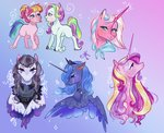bunnari clear_sky coconut_cream highres inky_rose princess_cadance princess_luna toola_roola