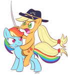 applejack hat i_shall_not_use_my_hooves_as_hands pony_ride_the_pony rainbow_dash riding saddle sword weapon whatsapokemon