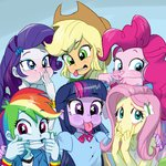 applejack baekgup equestria_girls fluttershy humanized main_six pinkie_pie rainbow_dash rarity twilight_sparkle
