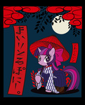 border bow cards japan japanese kimono_(clothing) moon nonana twilight_sparkle umbrella unmoving_plaid