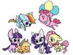 applejack cat fluttershy kairean main_six pinkie_pie rainbow_dash rarity species_swap twilight_sparkle