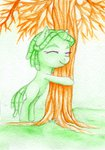 0okami-0ni filly highres traditional_art tree tree_hugger
