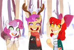 antlers apple_bloom christmas coat cosmicautogenesis cutie_mark_crusaders parasprite scarf scootaloo snow sweater sweetie_belle winter