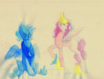 highres princess_celestia princess_luna sketch watercolor wolfiedrawie young