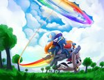 absurdres cloud dimfann flying highres rainbow_dash rarity soarin sonic_rainboom spitfire trees wonderbolts