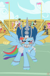 american_football applejack armor background_ponies badzerg blood_bowl broken_horn caramel deer derpy_hooves filly goat golden_harvest lily_valley lyra_heartstrings muffin original_character pinkie_pie rainbow_dash scootaloo sweetie_belle wild_fire yellowstar