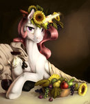 bacchus caravaggio flowers fruit glass highres magic parody princess_celestia silfoe wine