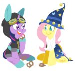 beard catsuit clothes coggler costume eating fluttershy hat pretzel princess_twilight starswirl_the_bearded twilight_sparkle