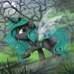 forest highres jpstardust moon nighttime owl queen_chrysalis water young