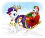 bag christmas costume gems hat pia-sama rarity santa_hat sleigh snow spike winter