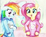 astevenamedwolf bipedal clothes fluttershy rainbow_dash traditional_art