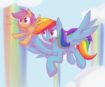 blackswhites rainbow_dash scootaffection scootaloo winsome_falls