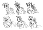 applejack fluttershy main_six needsmoarg4 pinkie_pie rainbow_dash rarity sketch twilight_sparkle