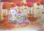 0okami-0ni autumn colored_pencil fluttershy forest photo traditional watercolor