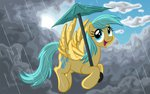 absurdres background_ponies cloud flying highres rain raindrops template93 umbrella