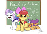 apple_bloom apples cutie_mark_crusaders school scootaloo sweetie_belle tsitra360