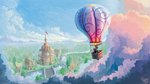 absurdres balloon cloud highres nemo2d ponyville scenery spike twilight_sparkle