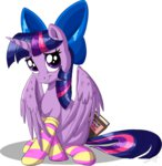 book bow highres princess_twilight sirzi socks twilight_sparkle