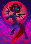 bat_pony cloud flying highres holivi moon original_character