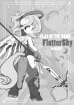anthro costume crossover fluttershy grayscale highres kuma8696 mercy overwatch text