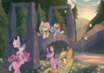applejack bridge butterfly fluttershy main_six pekou pinkie_pie rainbow_dash rarity twilight_sparkle