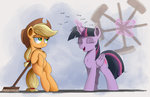 applejack broom ncmares princess_twilight sweep_sweep_sweep twilight_sparkle