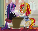anthro princess_twilight shipping silbersternenlicht sunlight sunset_shimmer twilight_sparkle