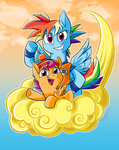 absurdres cloud dragon_ball dragon_ball_z gohan goku graystripe64 highres japanese rainbow_dash scootaloo