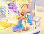 balcony book highres lectern magic princess_celestia viwrastupr