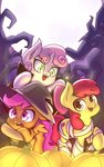absurdres apple_bloom costume cutie_mark_crusaders hat highres mummy pumpkin rockset scootaloo sweetie_belle vampire witch