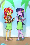 baekgup hawaii highres sunset_shimmer twilight_sparkle ukulele