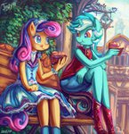 anthro bench cake dress eating jowybean lyra_heartstrings ponyville shipping sitting sweetie_drops tree