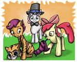 apple_bloom bow_tie costume cutie_mark_crusaders hat scootaloo sweetie_belle tiger tophat wag-tail