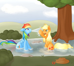 applejack rainbow_dash ratofdrawn river water wet_hair