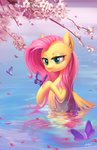 54600 absurdres butterfly flowers fluttershy highres water