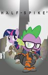 crossover crowbar glasses half_life parody ponyville smashinator spike twilight_sparkle